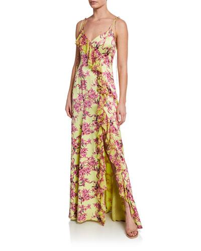 Velma Floral-Print Sleeveless Ruffle Silk Gown