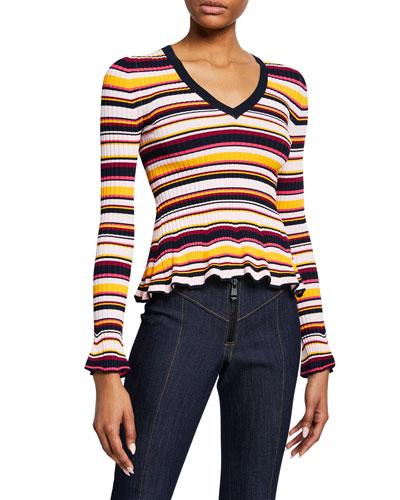 Zana Striped V-Neck Ruffle-Hem Ribbed Sweater