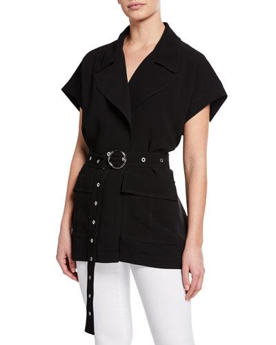 Hunter Waist-Tie Short-Sleeve Jacket