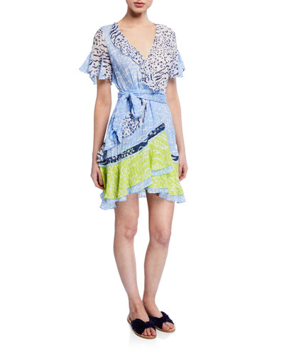 Bianka Ruffled Mix Print Dress