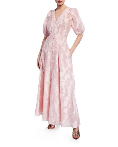 Ariela Floral-Embroidered Jacquard Maxi Dress