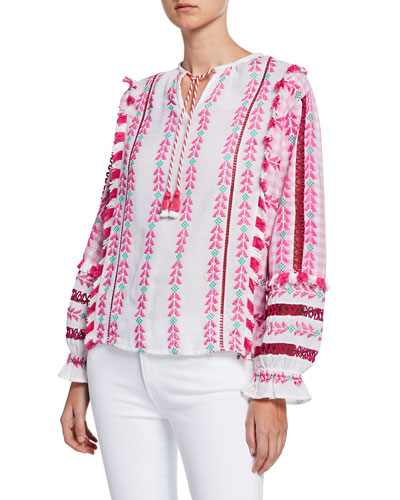 af43c19b3 Embroidered Long Sleeve Top