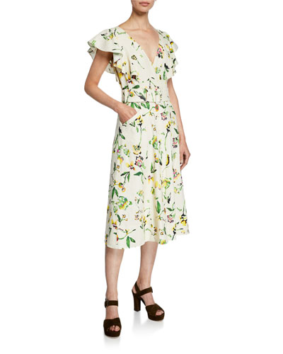 Inez Belted Floral Flutter-Sleeve Midi Dress