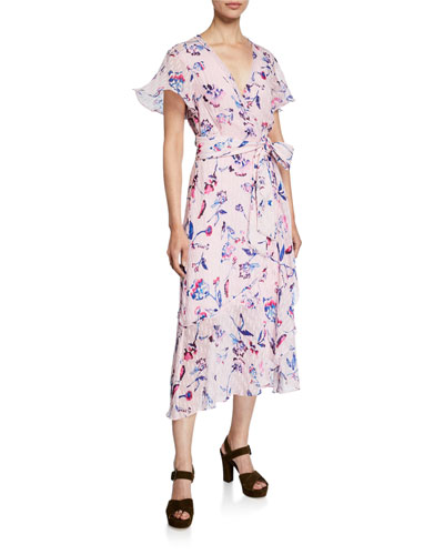 New Blaire Floral-Print Short-Sleeve Wrap Dress