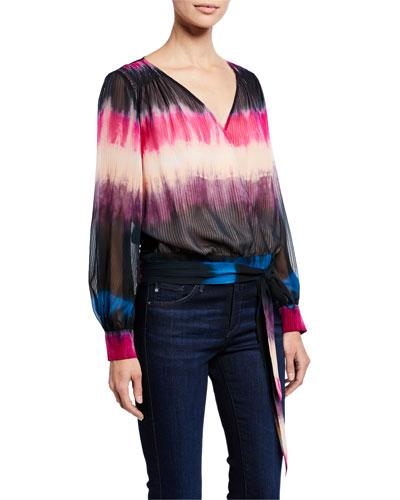 Klara Tie-Dye Long-Sleeve Silk Top