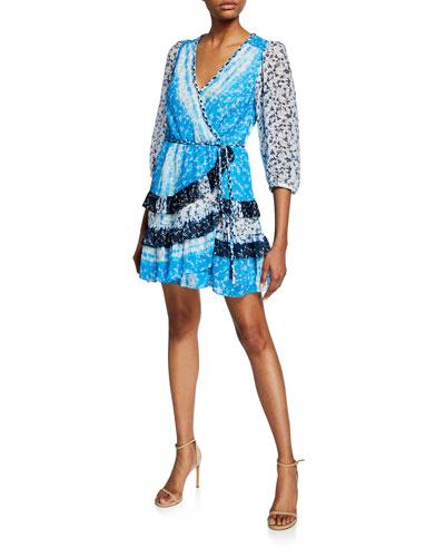 Patchwork Tie-Front Flounce Wrap Dress