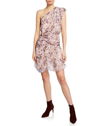 Freesia Gathered One-Shoulder Silk Dress
