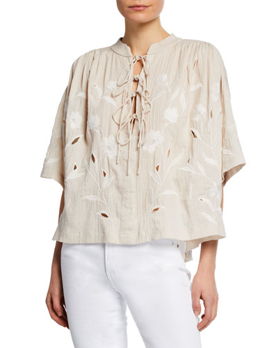 Hiba Embroidered Lace-Up Top