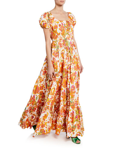Bardot Printed Scoop-Neck Short-Sleeve Maxi Dress