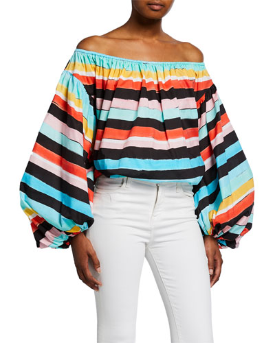 Andros Striped Off-the-Shoulder Balloon-Sleeve Crop Top