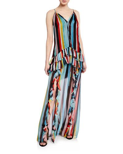 Isla Watercolor Stripe Ruffle Halter Maxi Dress