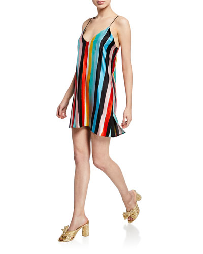 Elena Striped Charmeuse Slip Dress