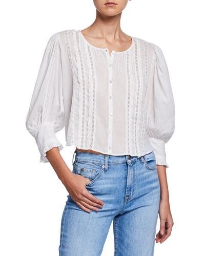 Cailin Button-Front 3/4-Sleeve Top
