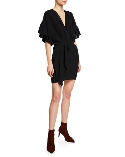Cedar Flutter-Sleeve V-Neck Cocktail Dress