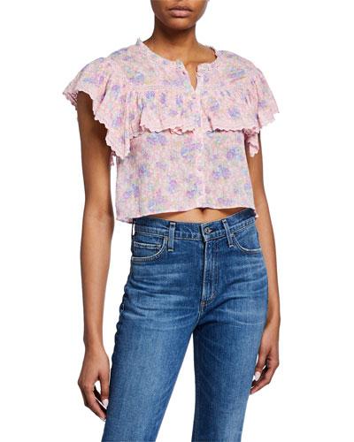Laurel Floral Lace Button-Front Top