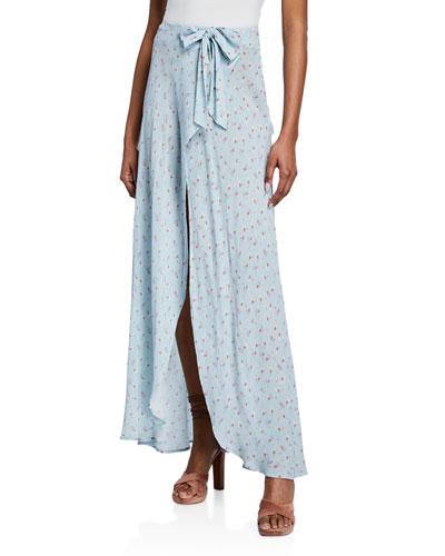 Jolene Silk Wrap-Front Maxi Skirt
