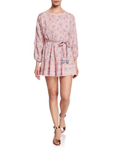 Noelle Long-Sleeve Belted Floral Short Dress