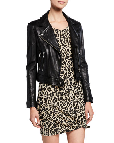 453df325427 Bapey Cropped Leather Moto Jacket