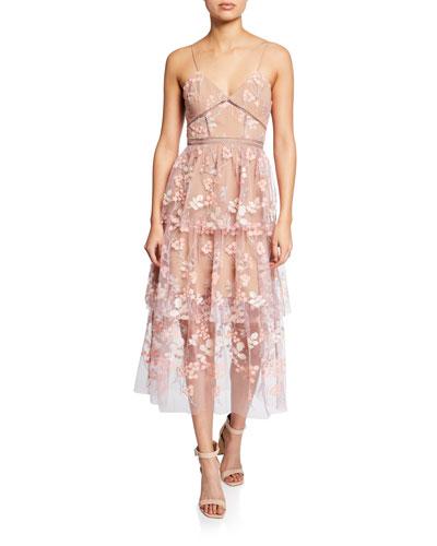 Floral-Embellished Tiered Midi Dress