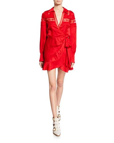 64e6d32e457051 Viscose Jacquard Trimmed Wrap Dress Quick Look. Self-Portrait