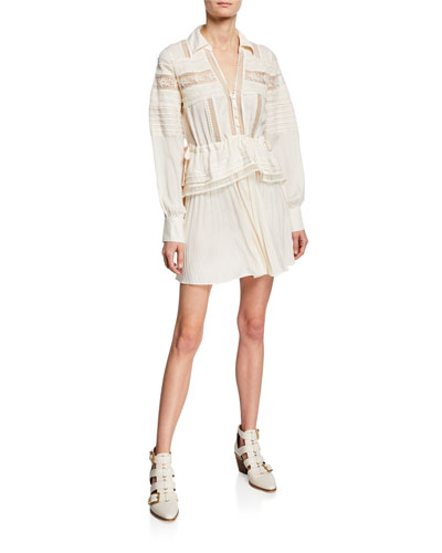 Lace-Trimmed Peplum Mini Dress