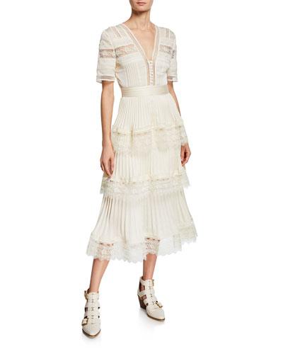Tiered Lace-Trim Fluid Midi Dress