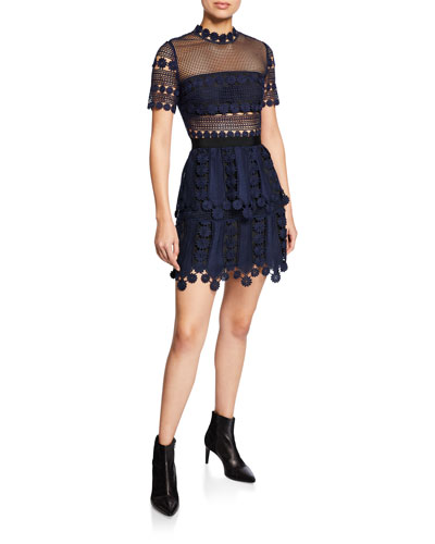Floral Lace Short-Sleeve Tiered Cocktail Dress