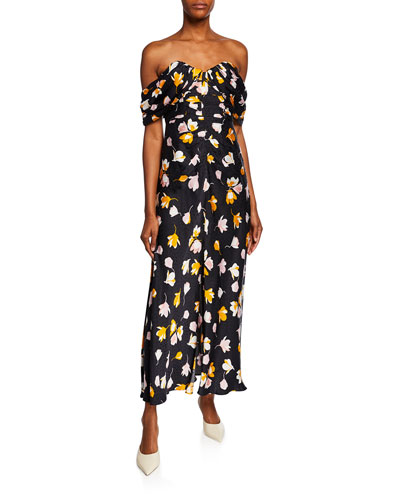 7008ba6f34 Off-Shoulder Floral-Printed Dress Quick Look. Self-Portrait