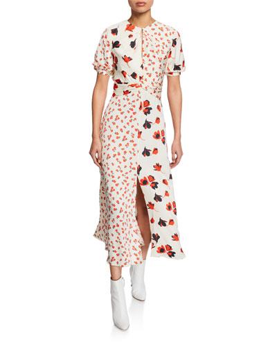 Mixed Floral Print Puff Sleeve Midi Dress