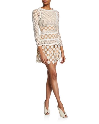 3D Floral Crochet Lace Mini Dress