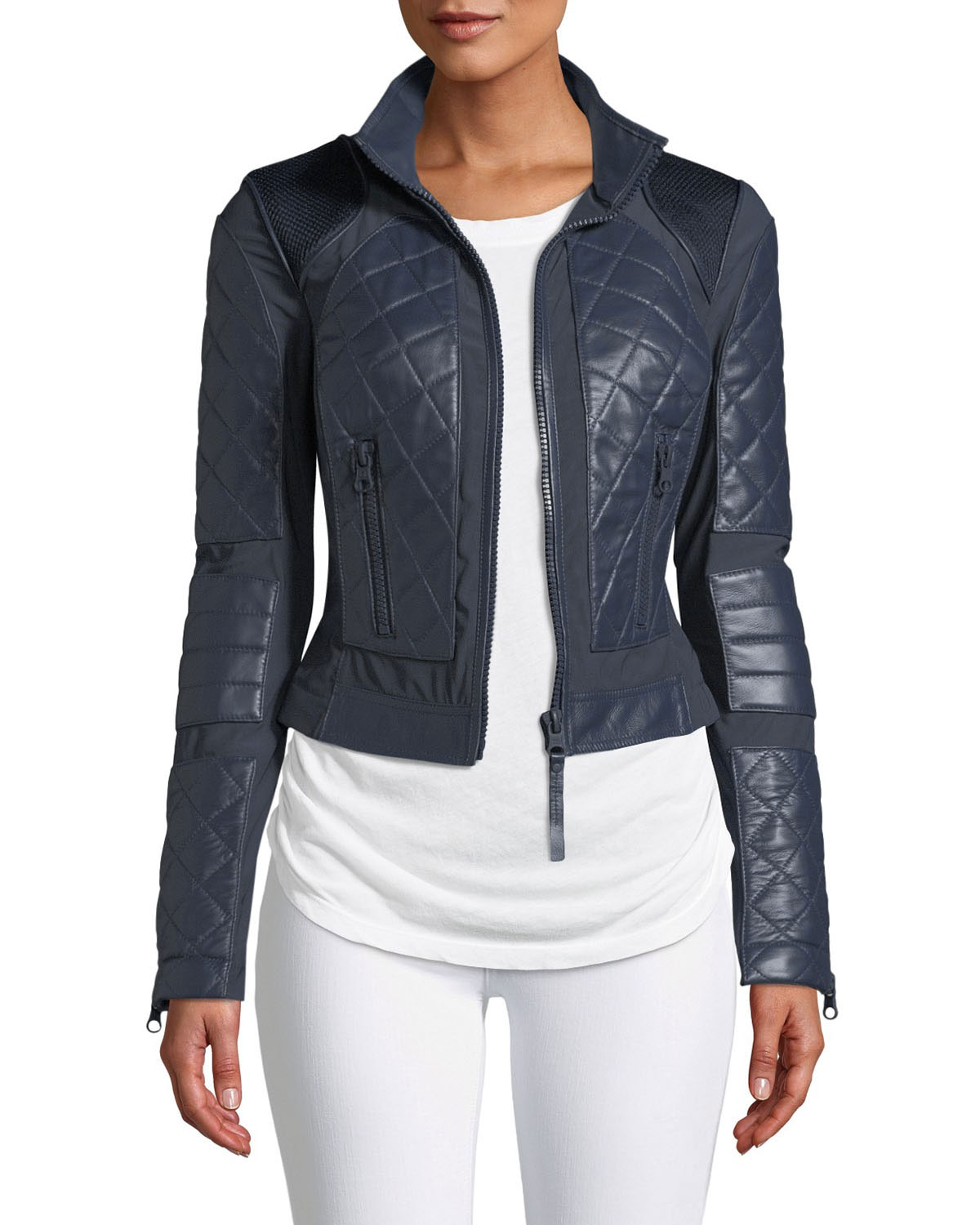 Blanc Noir Quilted Leather & Mesh Moto Jacket, NAVY