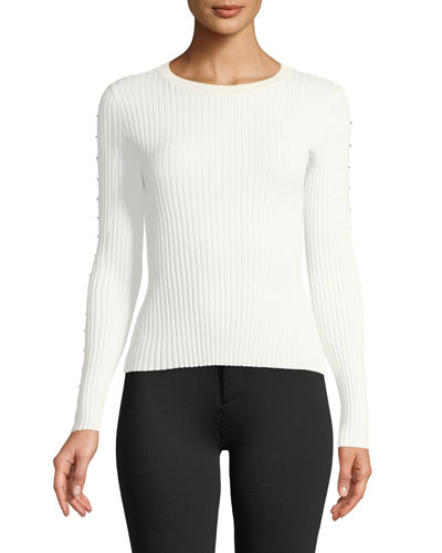 Ribbed Long-Sleeve Stapled Knit Top
