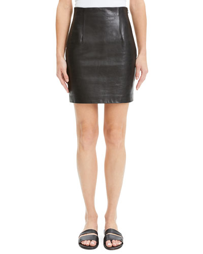 Fitted Leather Mini Skirt