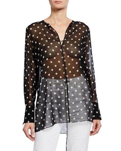 Fluid Dot-Print Silk Tunic