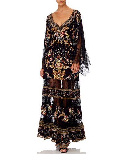 Floral Silk Lace Panel Long Dress