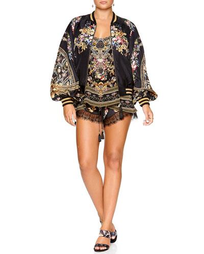 Blouson-Sleeve Silk Bomber Jacket