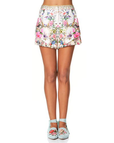 Floral-Print Shorts with Pleated Underlay