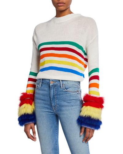 Rainbow Striped Sweater with Fox Fur Cuffs