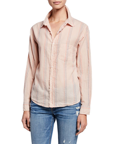 Basic Striped Button-Down Shirt
