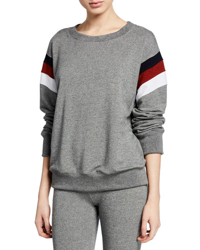 Striped Color-Inset Basic Sweatshirt