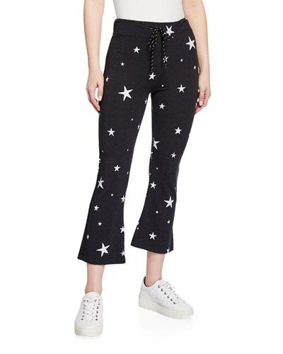 Kick Star-Print Cropped Drawstring Flare Pants