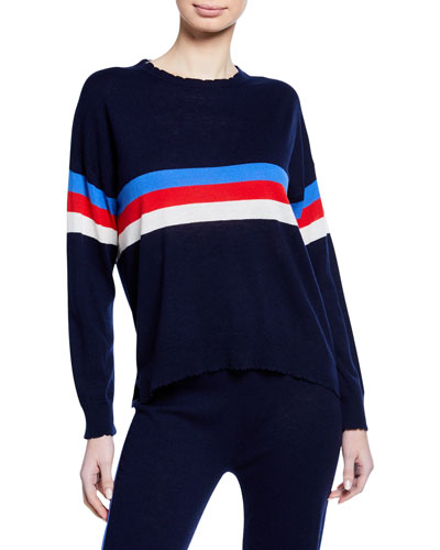Scalloped Striped Crewneck Sweater