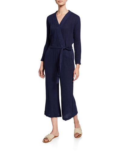 Surplice-Neck Long-Sleeve Belted Jumpsuit