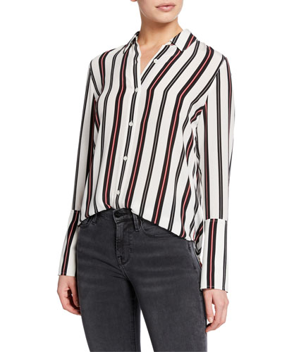 Striped Button-Front Cuffed Silk Blouse