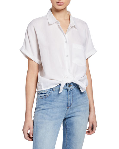 Christy Button-Down Short-Sleeve Tie-Front Top