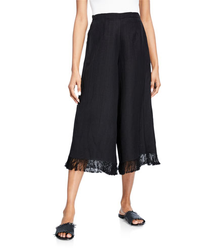 Cropped Linen-Viscose Wide-Leg Fringe Pants
