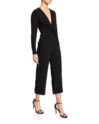 1319f13c88 V-Neck Long-Sleeve Twist-Front Cropped Jumpsuit