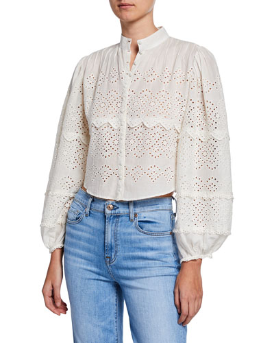 Lola Eyelet Cropped Button-Front Top