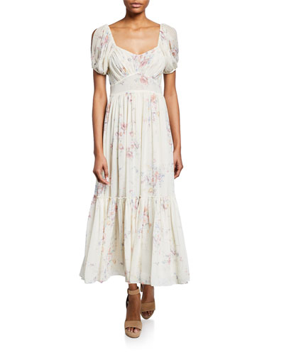 Angie Floral-Print Square-Neck Short-Sleeve Maxi Dress