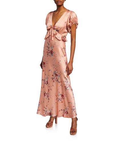 Lillian Floral-Print V-Neck Short-Sleeve Silk Dress